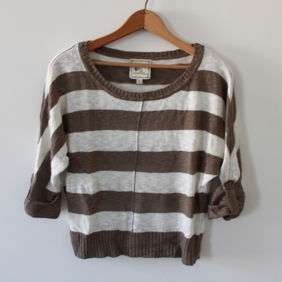 Taupe and Cream Striped Sweater 3/4 Length Large